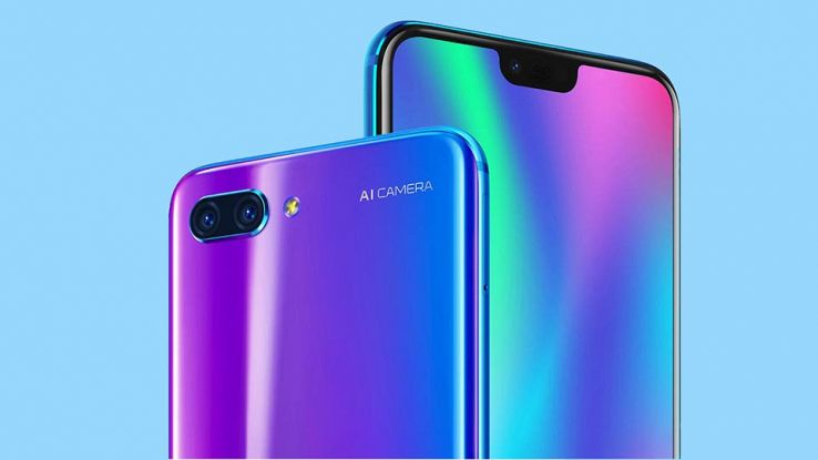 Honor 10 nella colorazione cangiante e notch mini