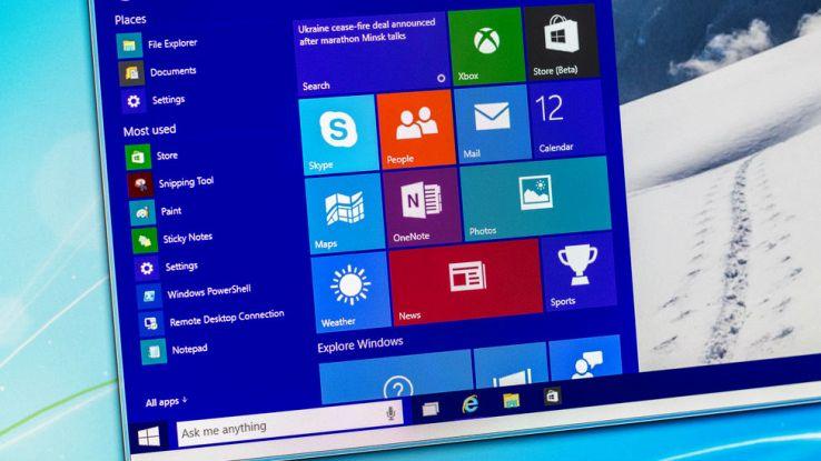 Un primo piano del Menu Start di Windows 10