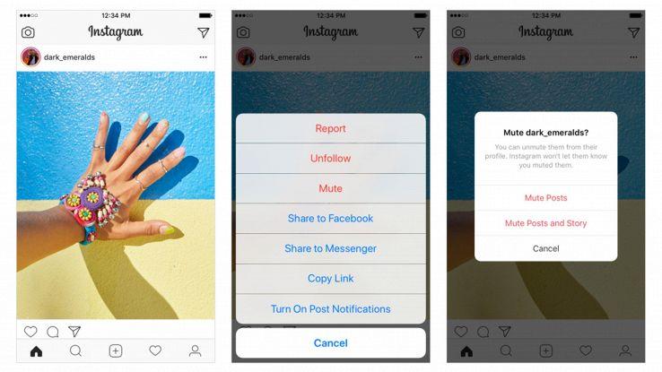 Instagram, possibile silenziare post