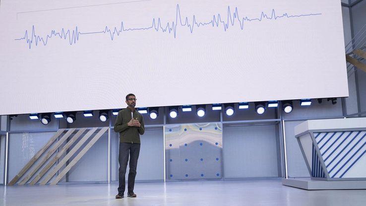 Sundar Pichai nel corso del Google I/O 2018
