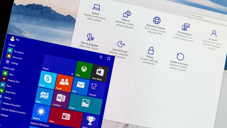 Primo piano del menu Start e del menu impostazioni di Windows 10