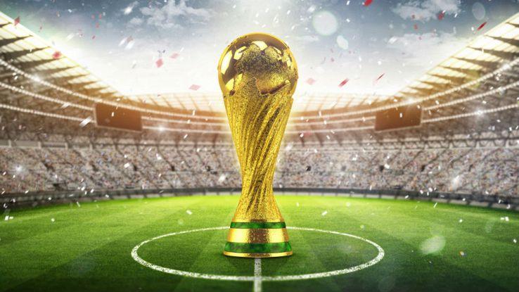 un disegno della Coppa del Mondo all'interno di uno stadio di calcio