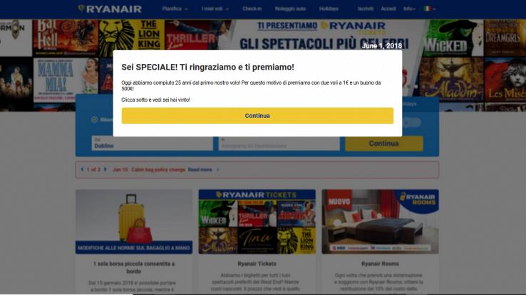 Screen della pagina del sito truffaldino che si finge da RyanAir