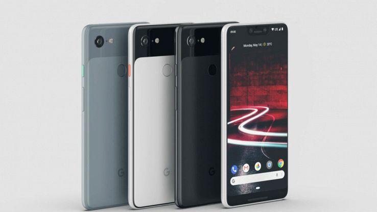 Quattro smartphone in fila su sfondo grigio