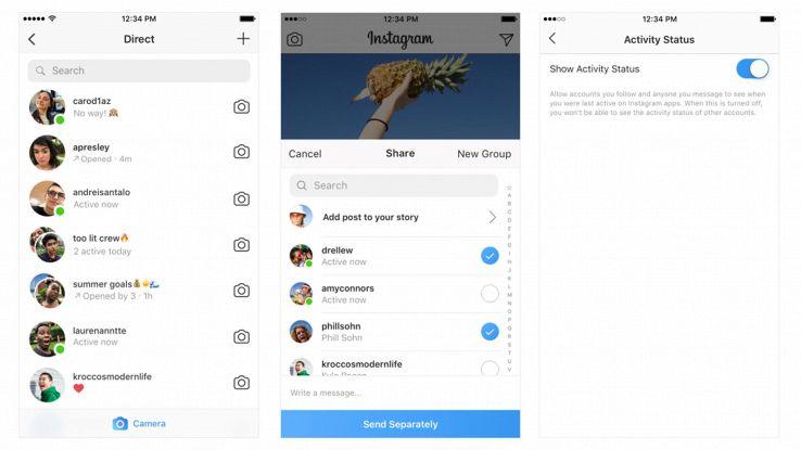 Instagram dice se amici sono online