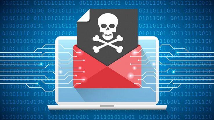 L'icona di un messaggio di posta maligno su un computer