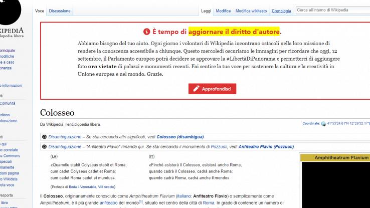 La pagina Wikipedia del Colosseo con le immagini oscurate