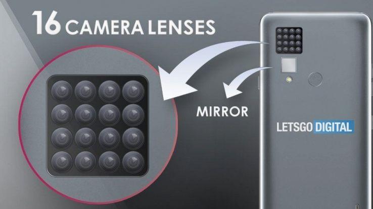Un rendering del telefono LG con 16 fotocamere