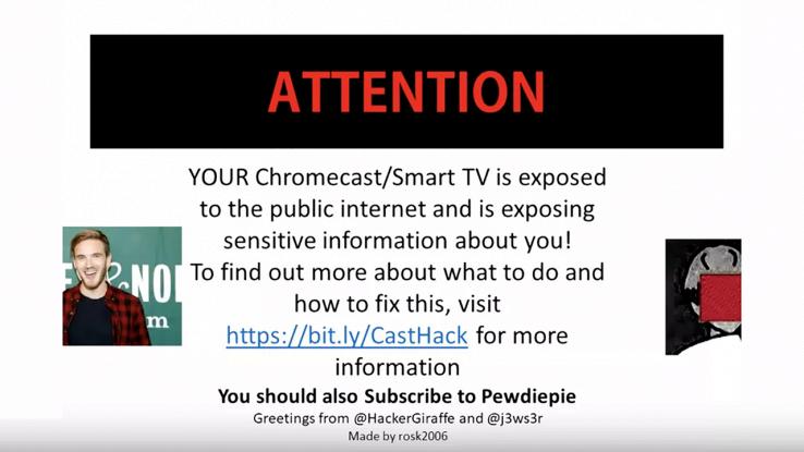 L'immagine che compare sulle smart TV hackerate