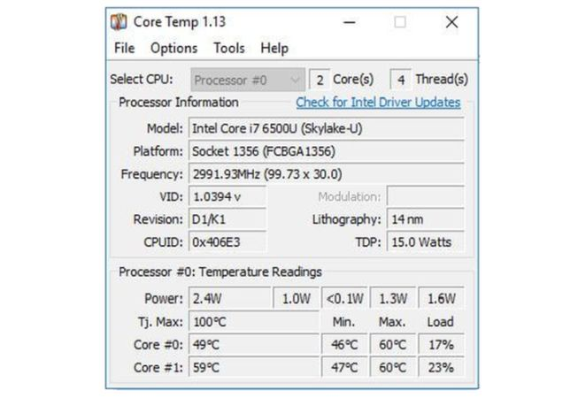 screenshot di Core Temp