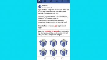 screen della truffa dell'iphone su Facebook