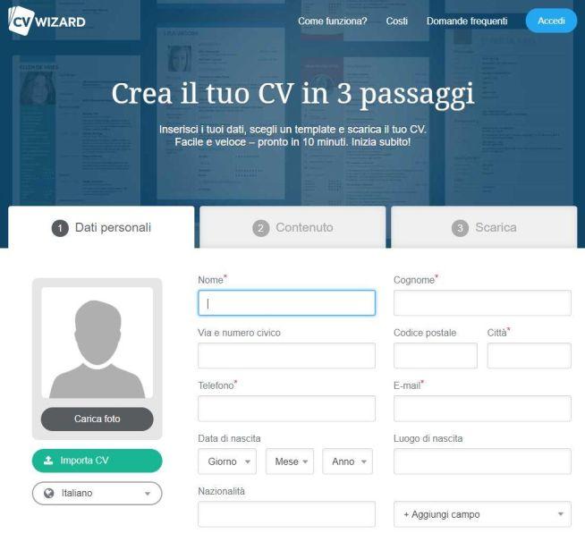 screenshot da CVWizard