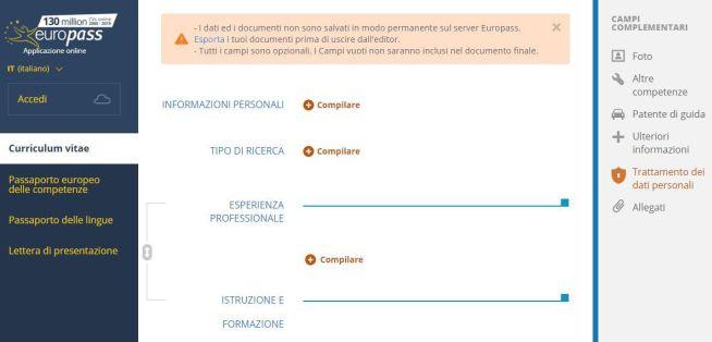 screenshot di europass
