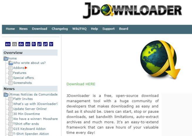 Jdownloader homepage