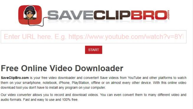 SaveClipBro homepage