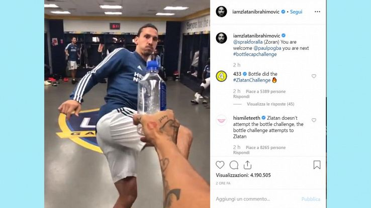 bottle cap challenge ibrahimovic