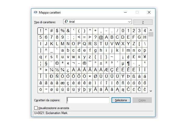 Mappa dei caratteri Windows
