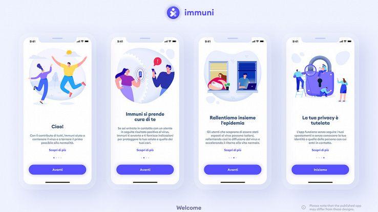schermate di benvenuto di immuni