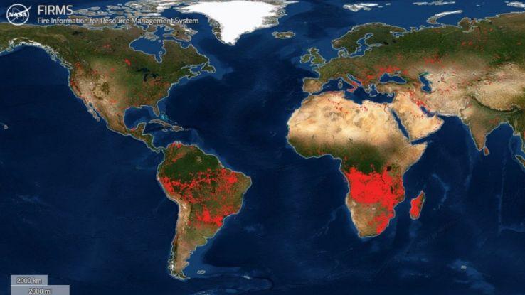 La Terra sta bruciando: dalla Nasa la mappa degli incendi