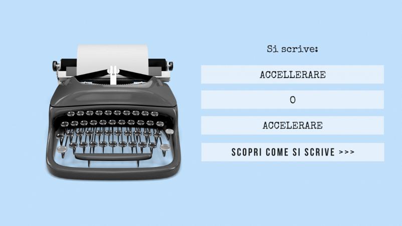 """Scritta """"Si scrive accellerare o accelerare? Scopri come si scrive..."""" sulla sinistra e macchina da scrivere sulla destra; sfondo azzurro chiaro"""