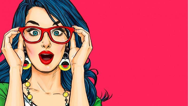 Sulla sx viso di donna rappresentato nello stile dei fumetti; ha capelli mossi e lunghi, blu scuro, grandi orecchini gialli e occhiali rossi