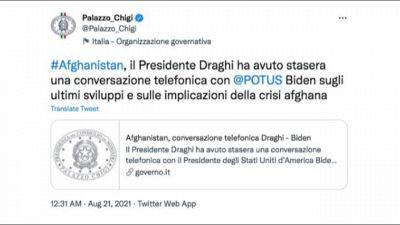 Afghanistan, colloquio tra Draghi e Biden: approccio comune al G7