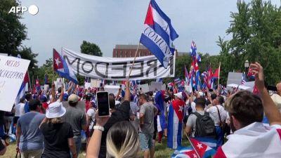 Usa, manifestazione anti-Cuba fuori dalla Casa Bianca