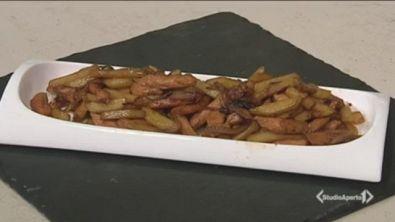 Straccetti di pollo con salsa di soia e patate