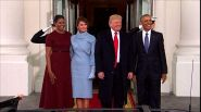 Michelle in bordeaux, Melania Trump completo celeste