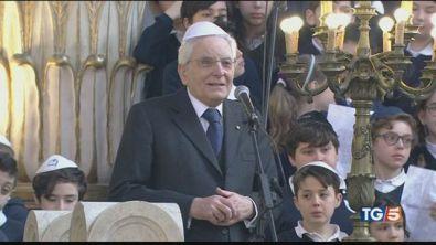"""Mattarella in sinagoga """"Altissimo contributo"""""""