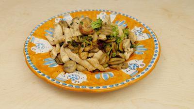 Ricetta per straccetti di pollo con broccoli e funghi