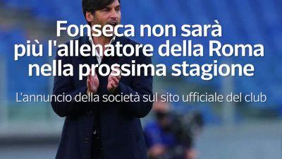 Fonseca non sara' piu' l'allenatore della Roma nella prossima stagione