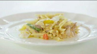 Trofie con capesante, asparagi e uovo di quaglia
