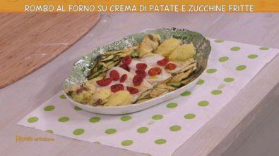 Filetti di rombo su crema di patate e zucchine fritte