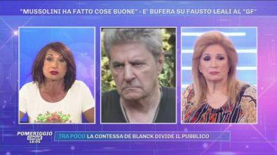 Fausto Leali al GF: ''Mussolini ha fatto cose buone''