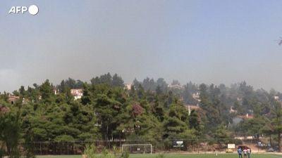Grecia, vigili del fuoco al lavoro per combattere un incendio vicino ad Atene