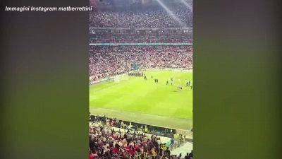 Berrettini, dopo Wimbledon a Wembley, festeggia la vittoria dell'Italia agli Europei