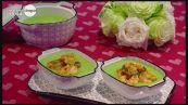 Crema di piselli con mazzancolle al curry