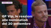 GF Vip, le reazioni alle nomination del 20 settembre