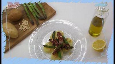 Insalata di polpo con asparagi e pinoli