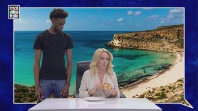 Giorgia Meloni in collegamento da Lampedusa