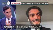 Il governatore della Lombardia Attilio Fontana in diretta a Mattino5
