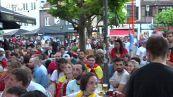 Europei, la delusione dei tifosi belgi dopo la sconfitta contro l'Italia
