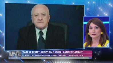 "Vincenzo De Luca: ""Fate le feste? Arriviamo con i lanciafiamme"""