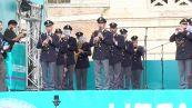 Europei, la fanfara della polizia alla fan zone di Roma