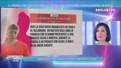 Il verbale del figlio di Grillo: Silvia era d'accordo, doveva essere un gioco