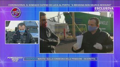 """Coronavirus, il sindaco Cateno De Luca al porto: """"A Messina non sbarca nessuno"""""""