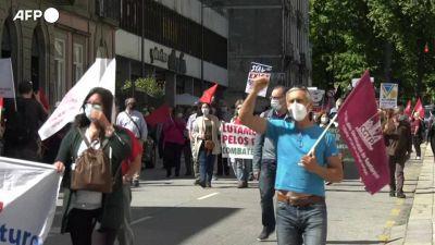 Portogallo, protesta indetta dai sindacati durante il vertice Ue