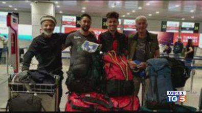 Alpinisti bloccati in attesa dei soccorsi