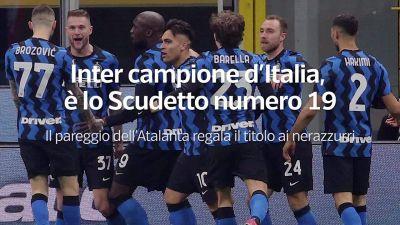 Inter campione d'Italia, e' lo Scudetto numero 19